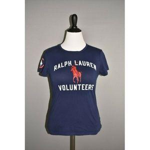 """RALPH LAUREN Blue Short Sleeve 'Volunteers"""" Tee"""
